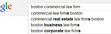 Boston Commercial law firm keyword research SEO